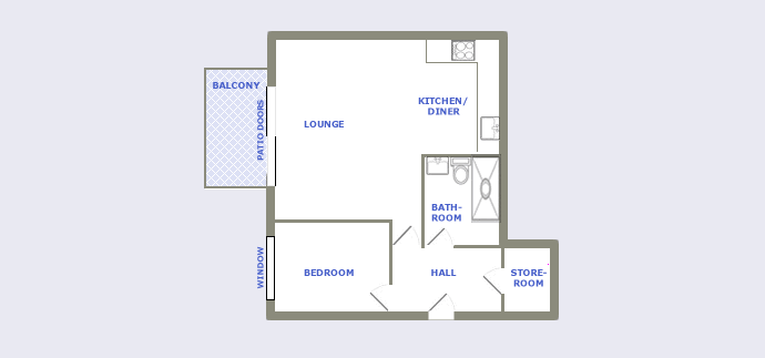 typical one bedroom apartment plan