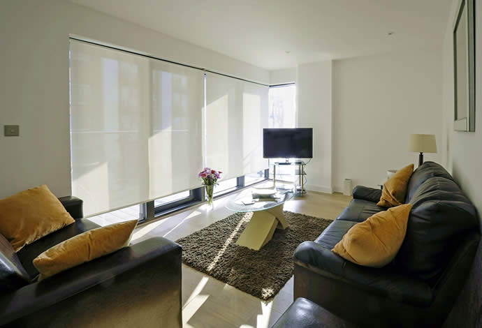 1 bed serviced apartments living room